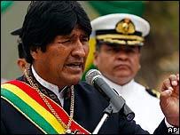 Evo Morales hablando el Día del Mar