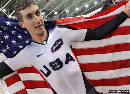 Phinney celebrates with an American flag