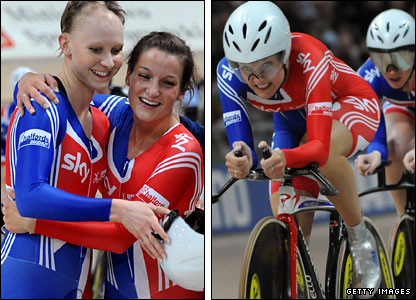 Rowsell and Armitstead celebrate after Armitstead  takes gold for the first time in the team pursuit