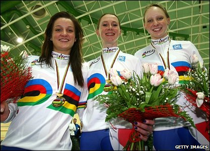 Armitstead, Houvenaghel and Rowsell sport their new rainbow jerseys