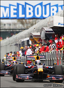 Red Bull cars in action at Albert Park