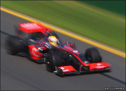Lewis Hamilton in action during first practice in Australia