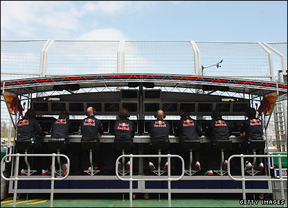 Some of the Red Bull pit lane team in Melbourne