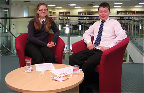 Jess and Jack from Lynn Grove High School in Gorleston reporting for School Report Day 2009