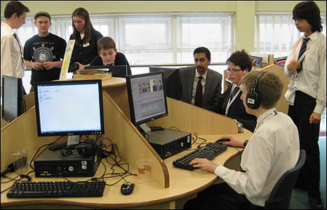 Students at Lynn Grove High School, Gorleston, preparing for BBC School Report 2009