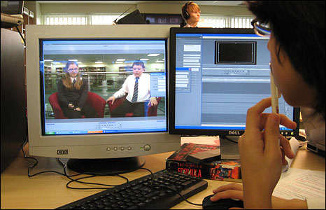 Editing footage for BBC School Report 2009 at Lynn Grove High School, Gorleston, Norfolk