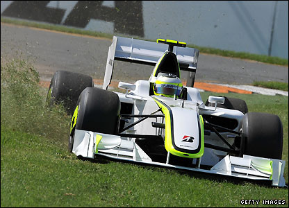 Rubens Barrichello ends up on the grass at Melbourne