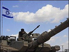 Israeli soldier on tank near Gaza (file pic)
