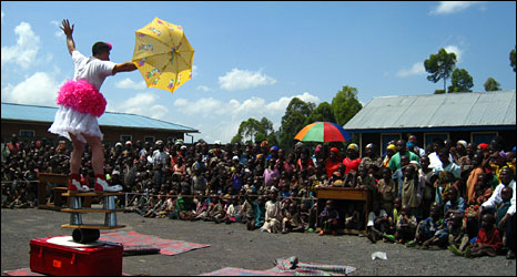 Clown performing in Congo camp