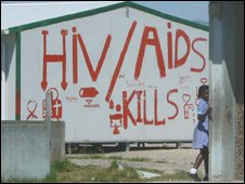 Painted warnings about HIV