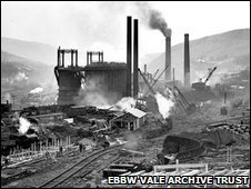 Ebbw Vale steelworks - the blast furnace in 1937
