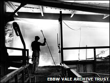 Ebbw Vale steelworks - inside the blast furnace in 1937
