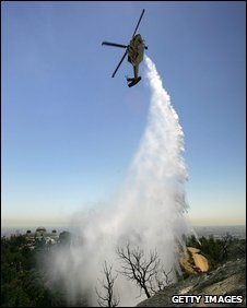 Helicopter water dousing (
