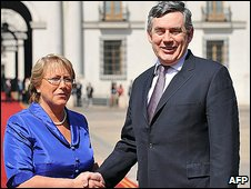 Gordon Brown with Chilean President Michelle Bachelet
