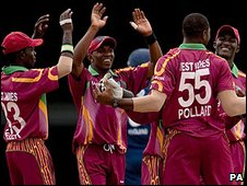 West Indies celebrate as Stuart Broad departs