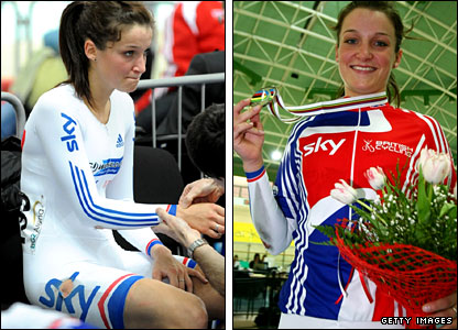 Armitstead getting medical attention, then receiving her medal