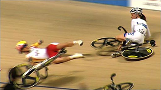 Britain's Lizzie Armitstead crashes during the women's scratch race at the World Championships in Poland