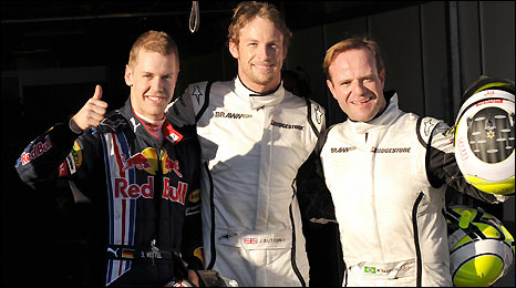 Sebastian Vettel, Jenson Button and Rubens Barrichello