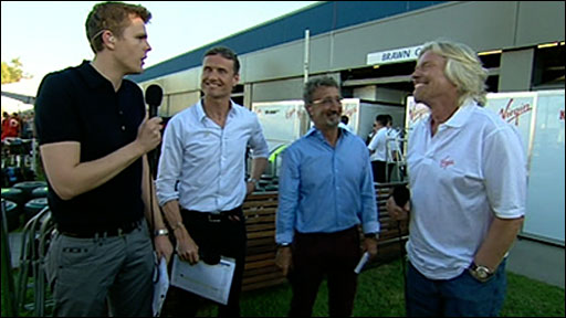 The BBC F1 team talk to Sir Richard Branson