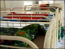 Bunk beds in the Bangladeshi madrassa where an arms cache was found