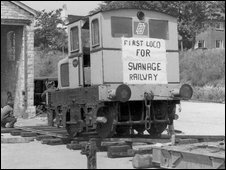Swanage Railway Trust's first locomotive arriving in 1976 (Andrew P M Wright collection)