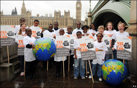 Children with banners opposite House of Commons