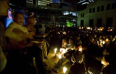 Concert in Wellington Civic Square, New Zealand - photo Earth Hour