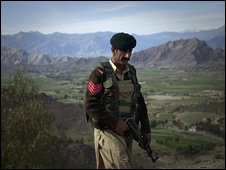 A Pakistani Frontier Corp soldier in the Mohmand tribal area of Pakistan on 28 February 2009