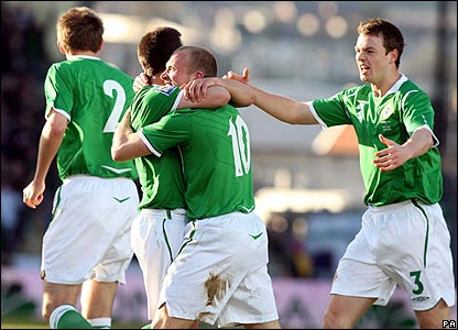 Warren Feeney celebrates giving Northern Ireland the lead