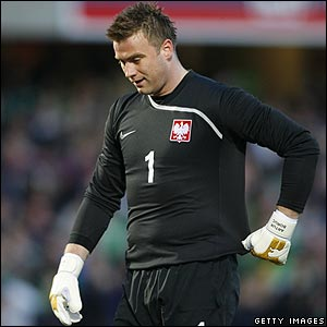 Poland keeper Artur Boruc shows his frustration