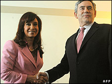 Gordon Brown meets Christina Kirchner