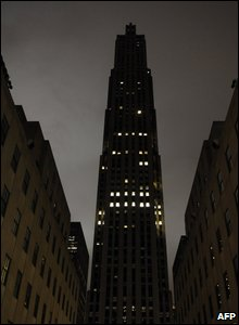 New York City's Rockefeller Center moments after it went dark