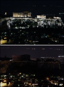 The Acropolis in Greece, (above) as it is normally lit and (below) in darkness during Earth Hour