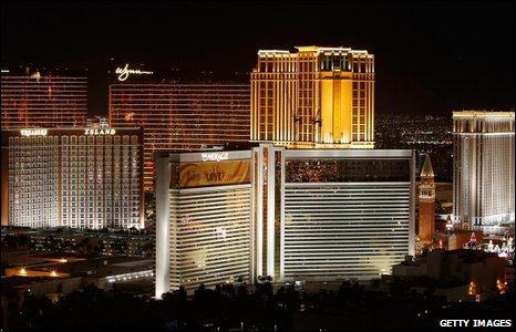 Casinoes in Las Vegas turned off all non-essential lighting