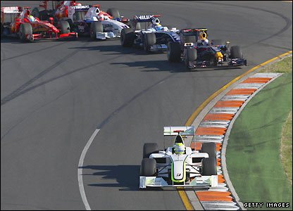 Jenson Button storms into the lead at the Australian Grand Prix