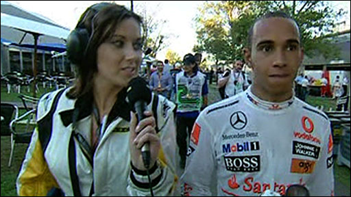 Lewis Hamilton talks to BBC Sport's Lee McKenzie