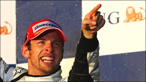 Jenson Button celebrates winning the Australian Grand Prix