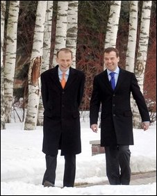 Andrew Marr (left) and President Medvedev