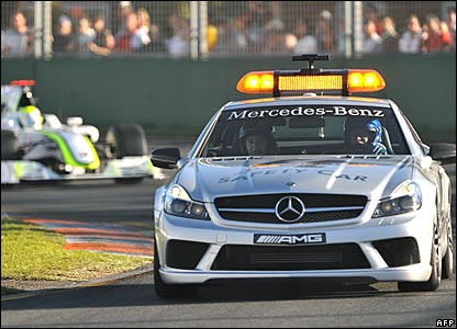 Jenson Button, Brawn GP; safety car