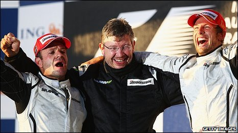 Rubens Barrichello, Ross Brawn and Jenson Button celebrate
