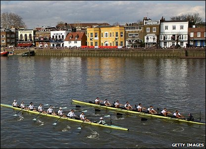 Crews pass the Hammersmith boat clubs