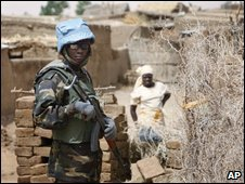 A UN soldier in the Darfur town of al-Fasher, file image