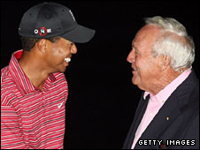 Tiger Woods with golf legend Arnold Palmer, after whom the event is named
