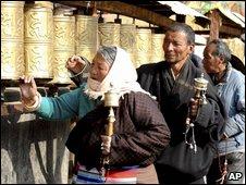 Tibetan people take ritual walks in Lhasa, 14 March