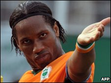 Ivorian striker Didier Drogba celebrates a goal against Malawi on 29 March 2009