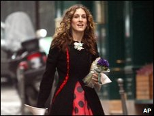 Sarah Jessica Parker, as Carrie Bradshaw, in Sex and The City