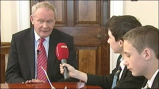 Northern Ireland Deputy First Minister Martin McGuinness with School Reporters from Ashfield Boys' High School