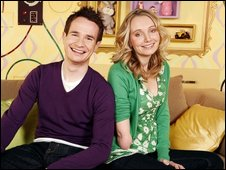 CBeebies' Cerrie Burnell and co-presenter Alex Winters
