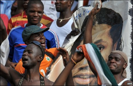Fans at Felix Houphouet-Boigny stadium in Abidjan on 29 March 2009