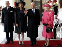 El presidente de México y la reina Isabel II junto a Margarita Zavala y el Duque de Edimburgo